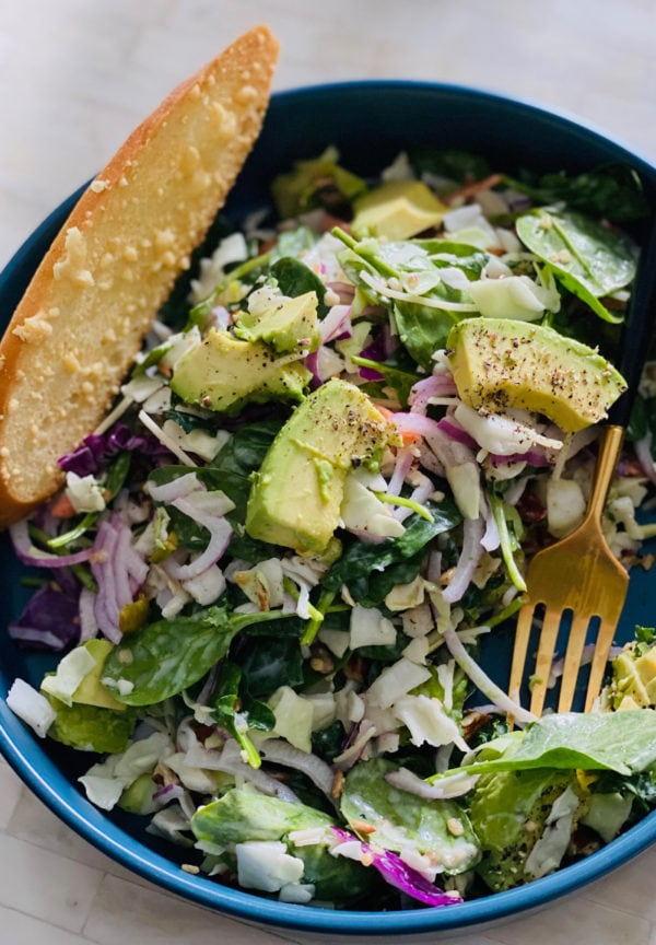 salad in a bag with avocado and toast