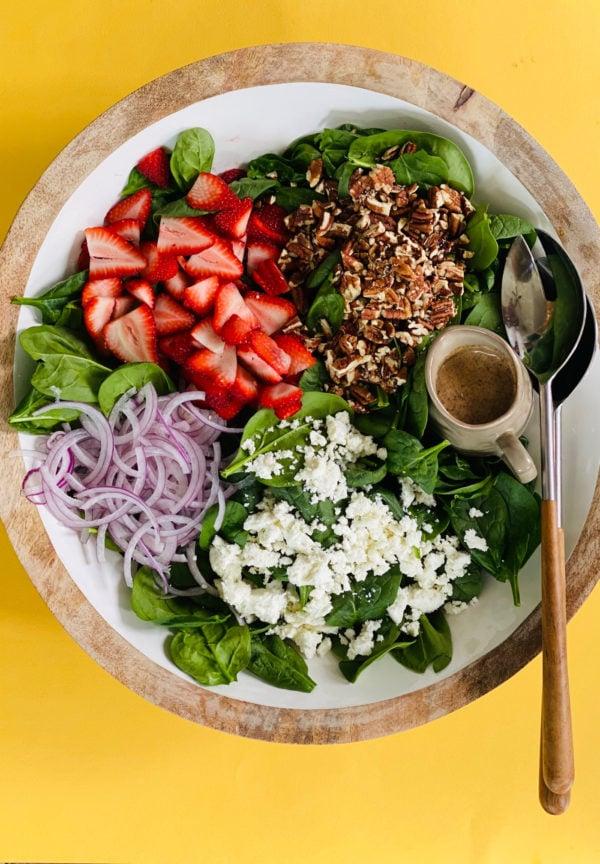 mango bowl of My Favorite Strawberry Spinach Salad
