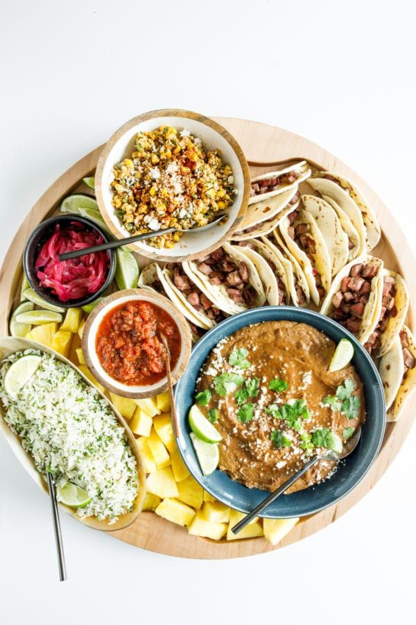 taco board with all the fixings
