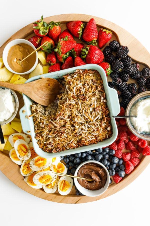 Baked Oatmeal on Breakfast Board