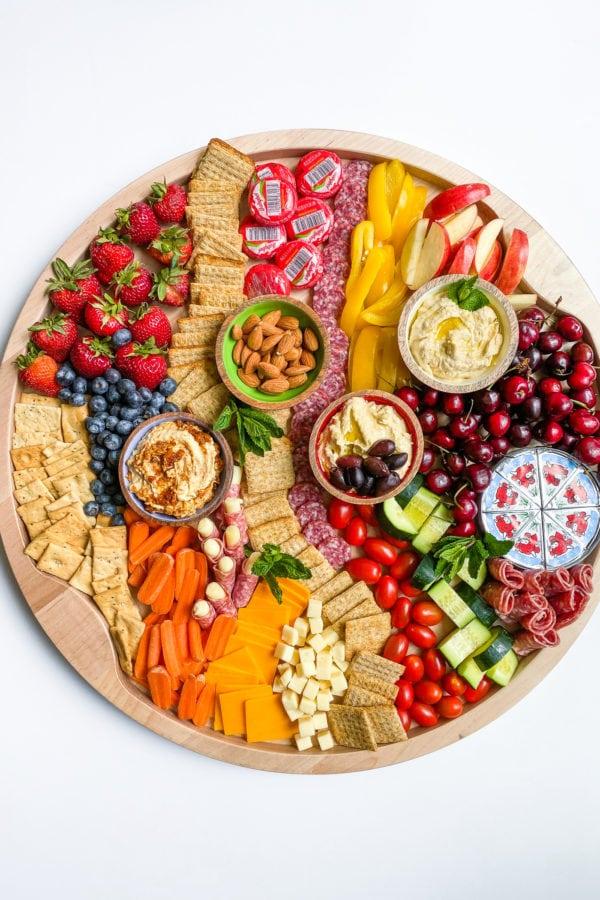 the big board with hummus snacks