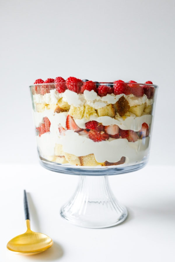 layered strawberry trifle in parfait dish