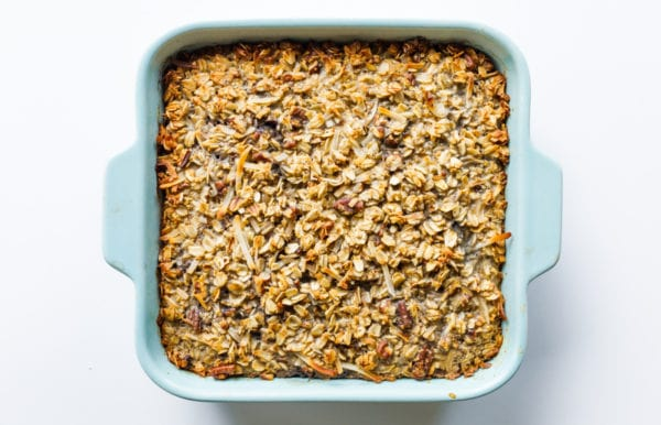 square blue pan of Blueberry Coconut Baked Oatmeal