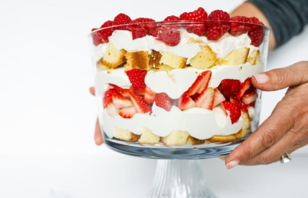 Best Strawberry Trifle in parfait dish