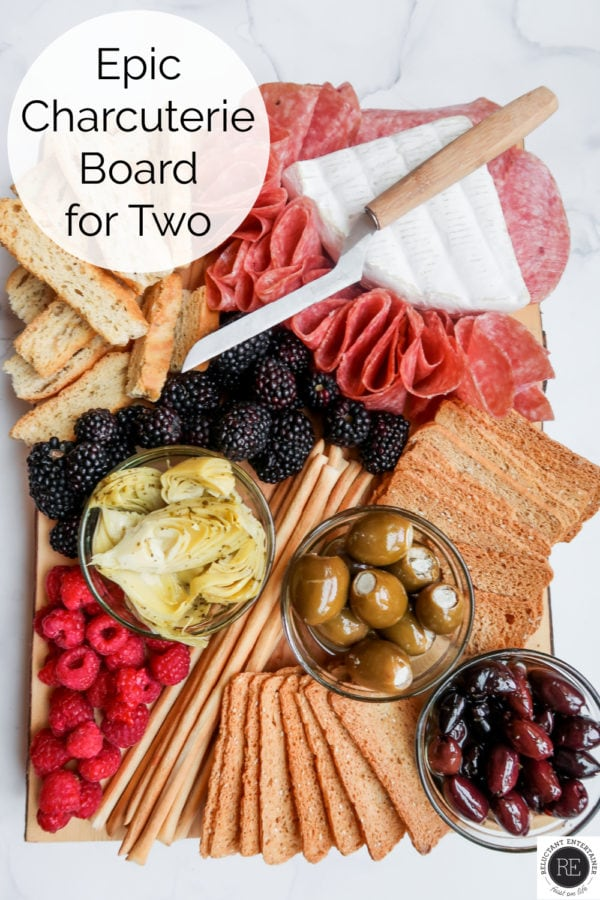 Epic Charcuterie Board for Two with cheese knife