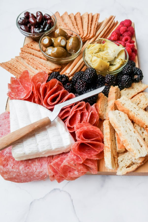 cheese knife on a Epic Charcuterie Board for Two
