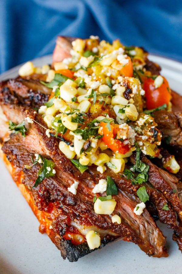 Flank Steak with Cocoa Chili Rub on sandwich