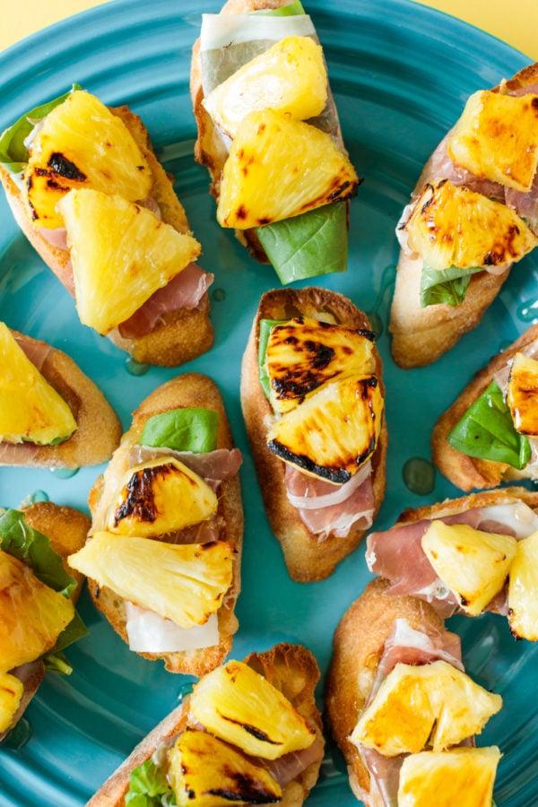 Pineapple Prosciutto Crostini with balsamic drizzle