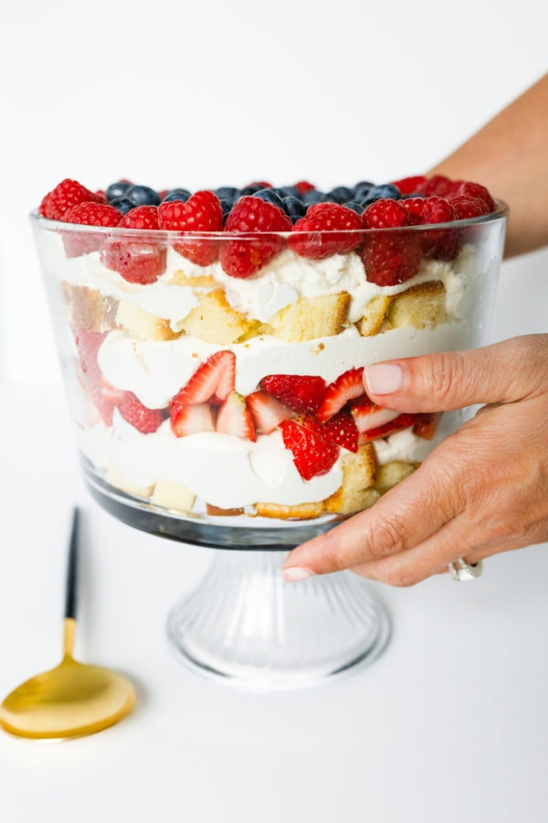 holding a Best Strawberry Trifle Recipe