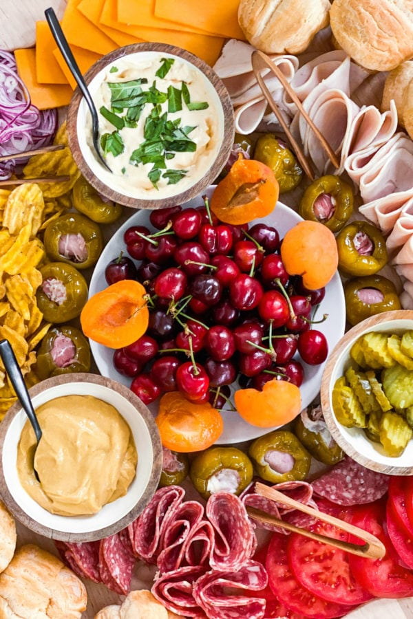 fresh summer cherries and apricots and charcuterie spread