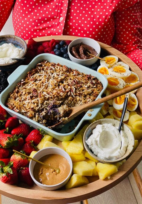 spoonful of Baked Oatmeal on Breakfast Board