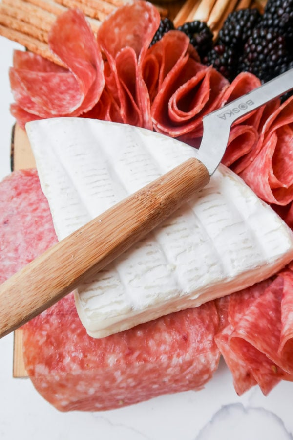 soft brie cheese with salami