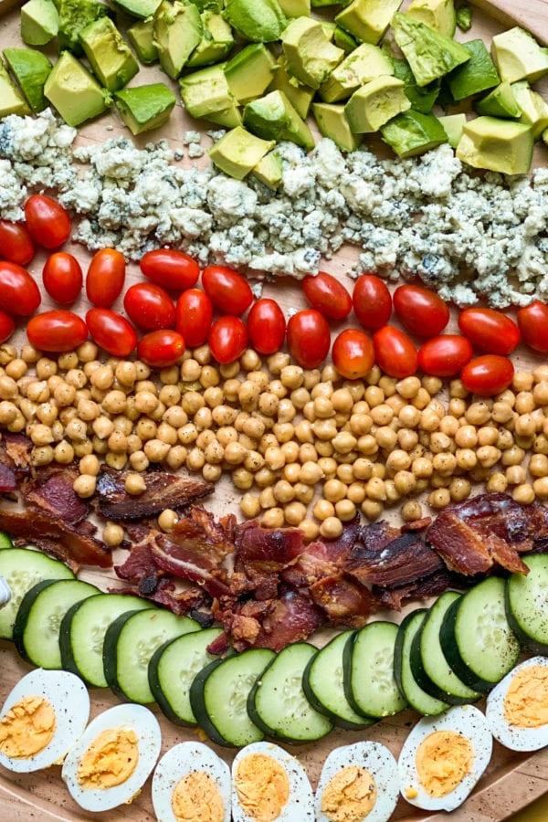 close up Chickpea Cobb Salad Board