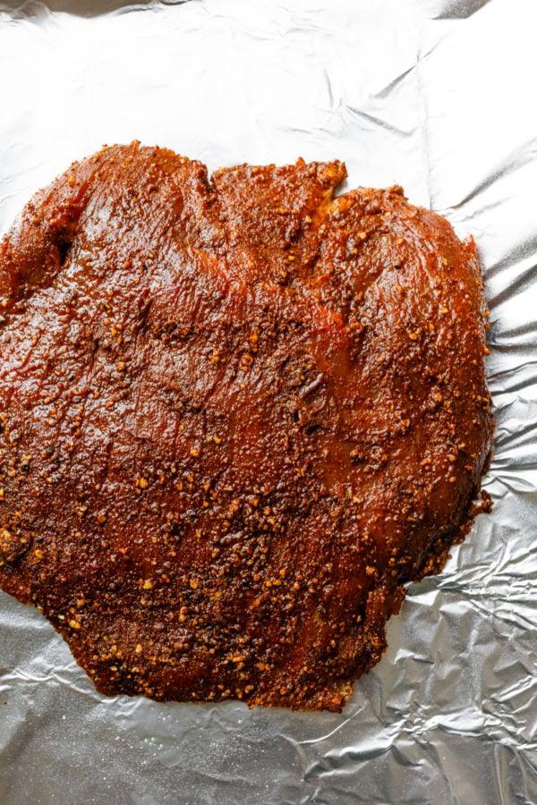 Cocoa Chili Rub on flank steak