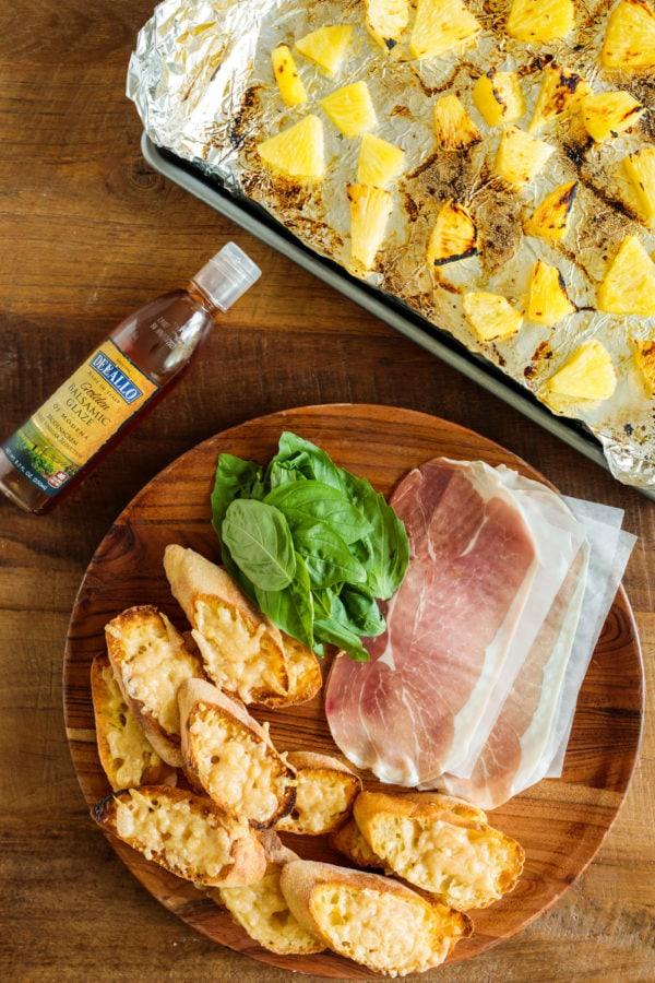 Pineapple Prosciutto Crostini ingredients