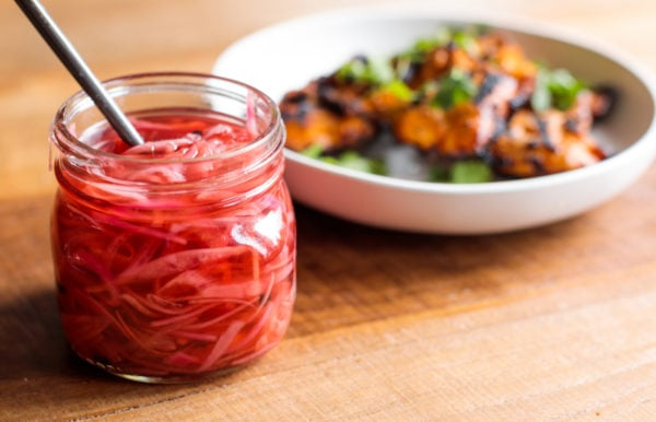 jar of pickled red onions
