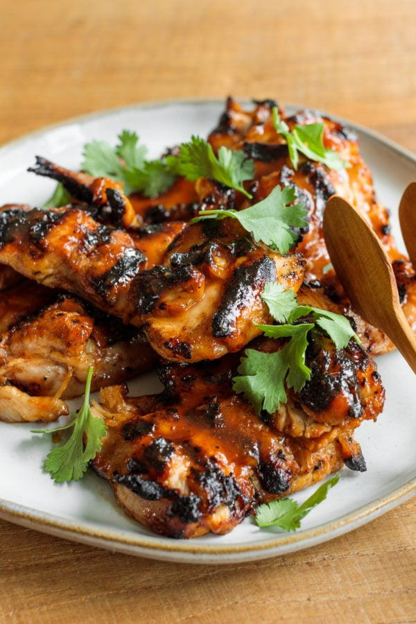 Grilled BBQ Marinated Chicken with cilantro garnish