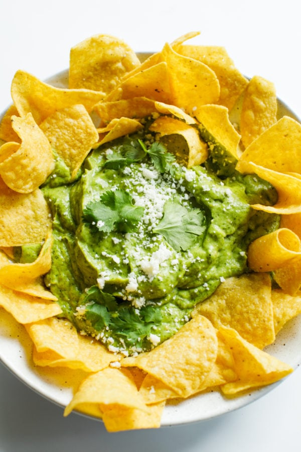 Avocado Salsa Verde with chips
