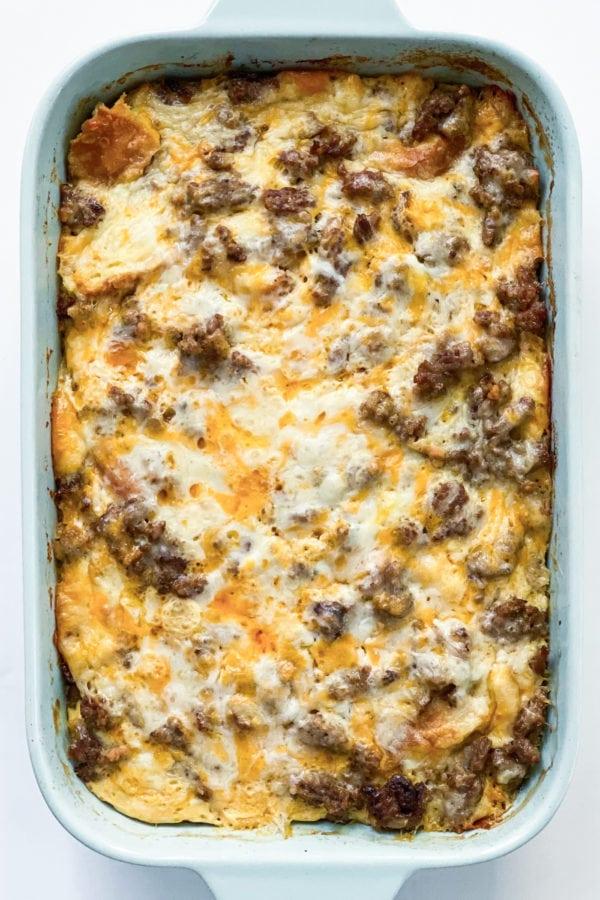9x13 pan of Best Sausage Breakfast Casserole