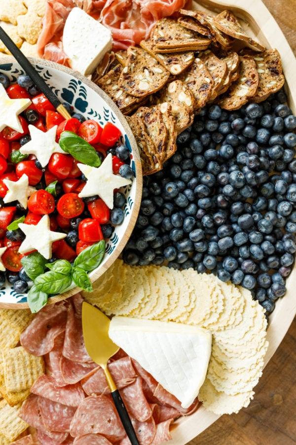 caprese salad with white cheese stars