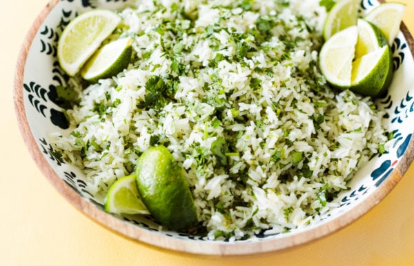 white rice with lime and cilantro