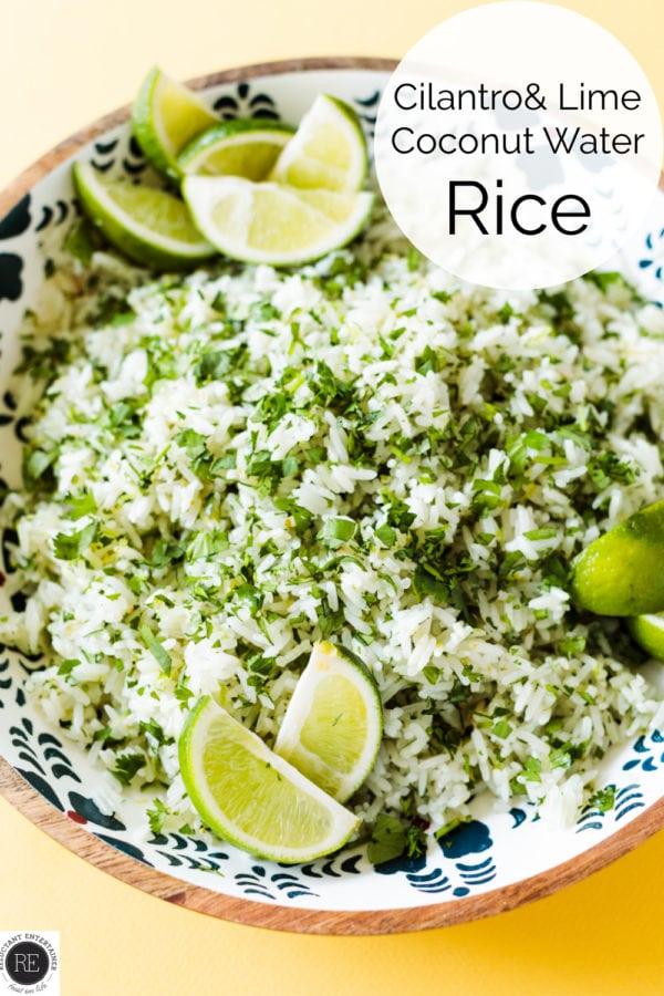 Coconut Water Rice with lime and cilantro