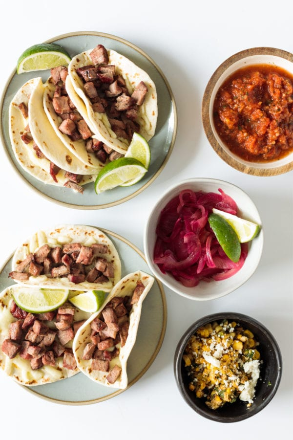min taco spread with all the toppings