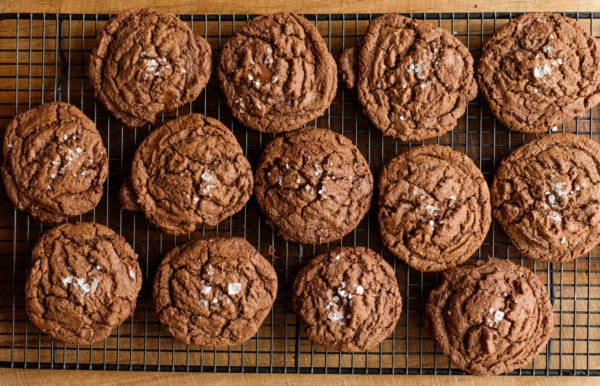 baking rack of Peanut Butter Nutella Chocolate Cookies