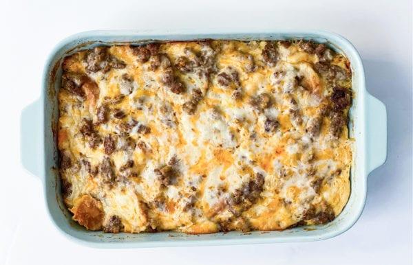 pan of Best Sausage Breakfast Casserole
