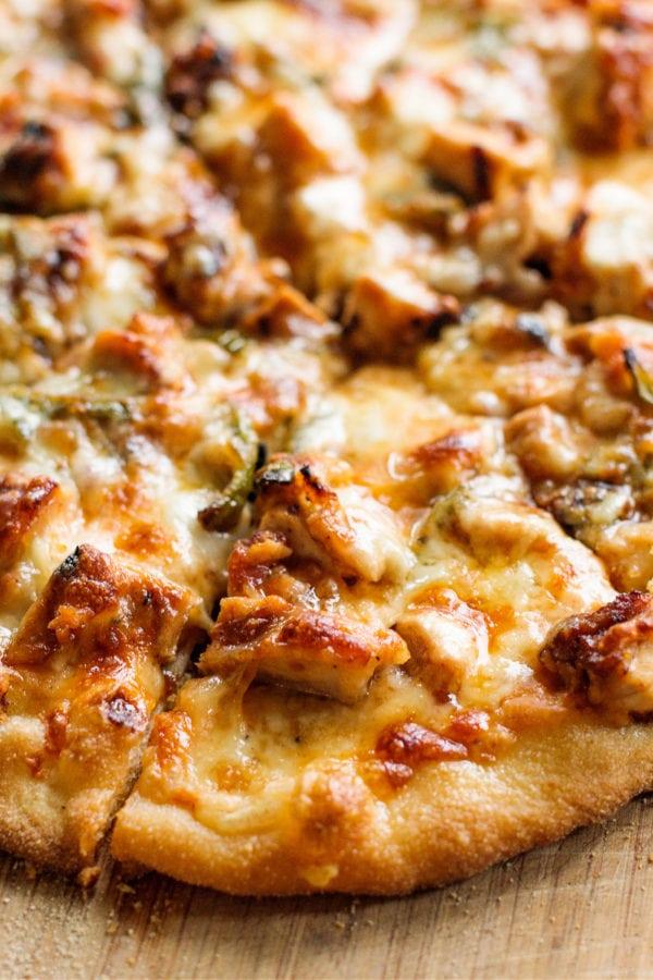 close up Homemade BBQ Chicken Pizza