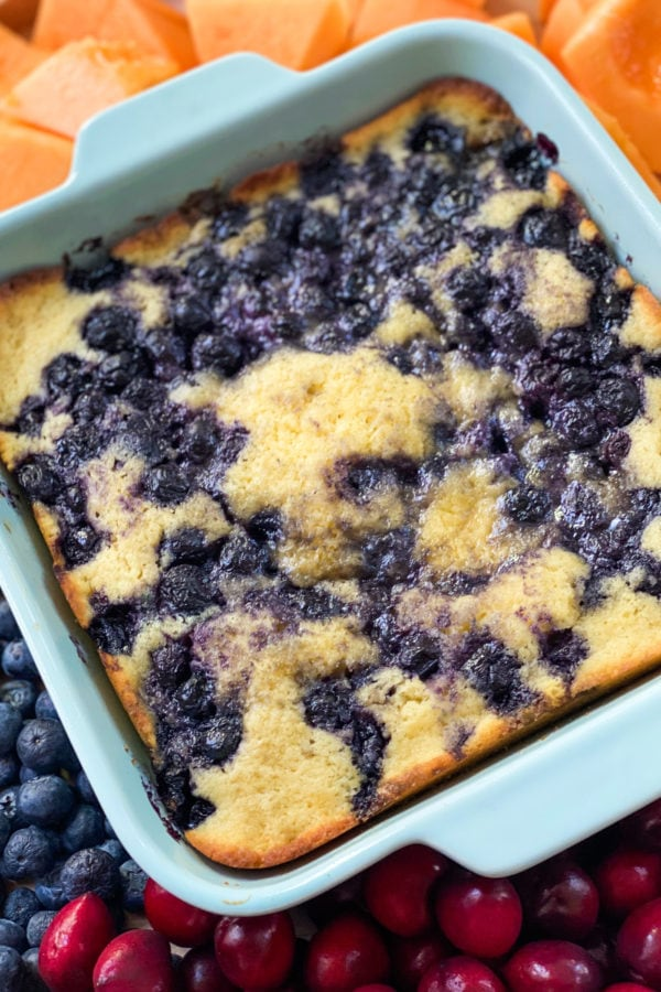buttermilk cake made with blueberries