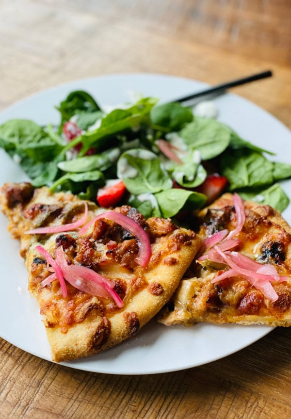 pizza with pickled red onions
