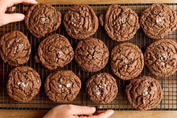 out of the oven Peanut Butter Nutella Chocolate Cookies