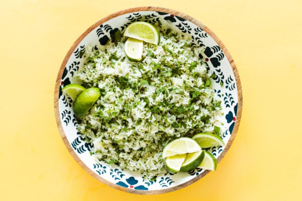 wood bowl of Cilantro Lime Coconut Water Rice