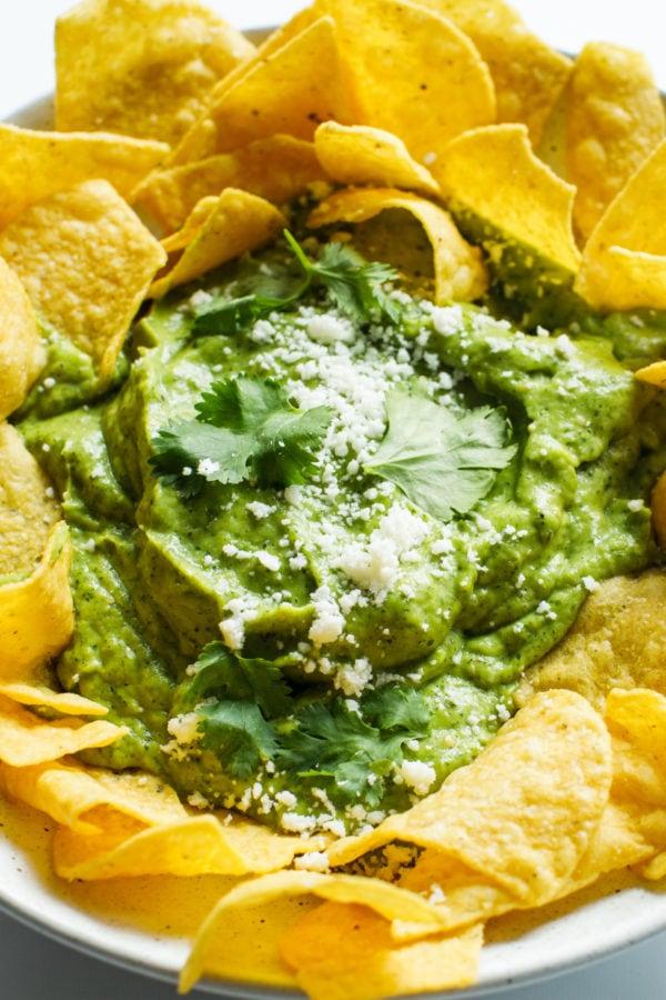 bowl of Best Avocado Salsa Verde
