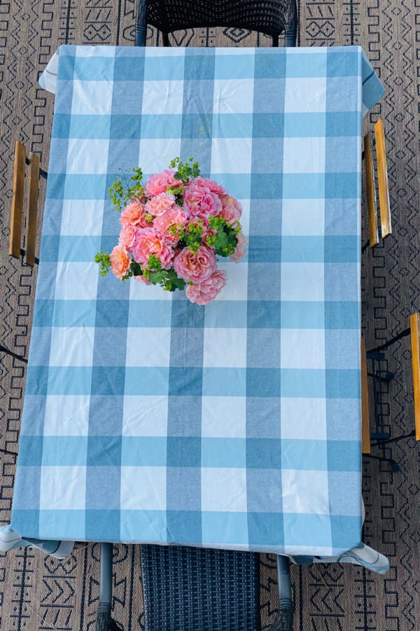 plaid tablecloth with roses