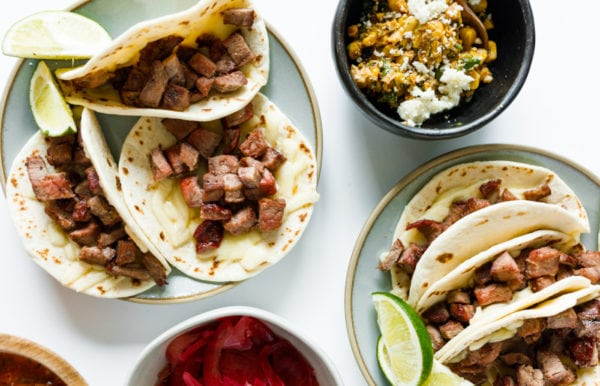 mini steak tacos in flour tortillas
