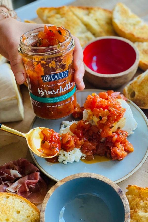 an open jar of tomato bruschetta