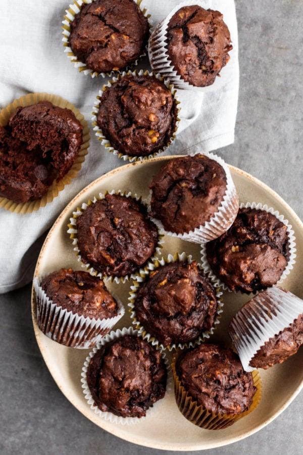 Double Chocolate Banana Muffins with walnuts