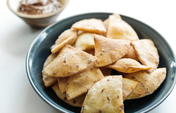 fried flour tortillas with cinnamon and sugar
