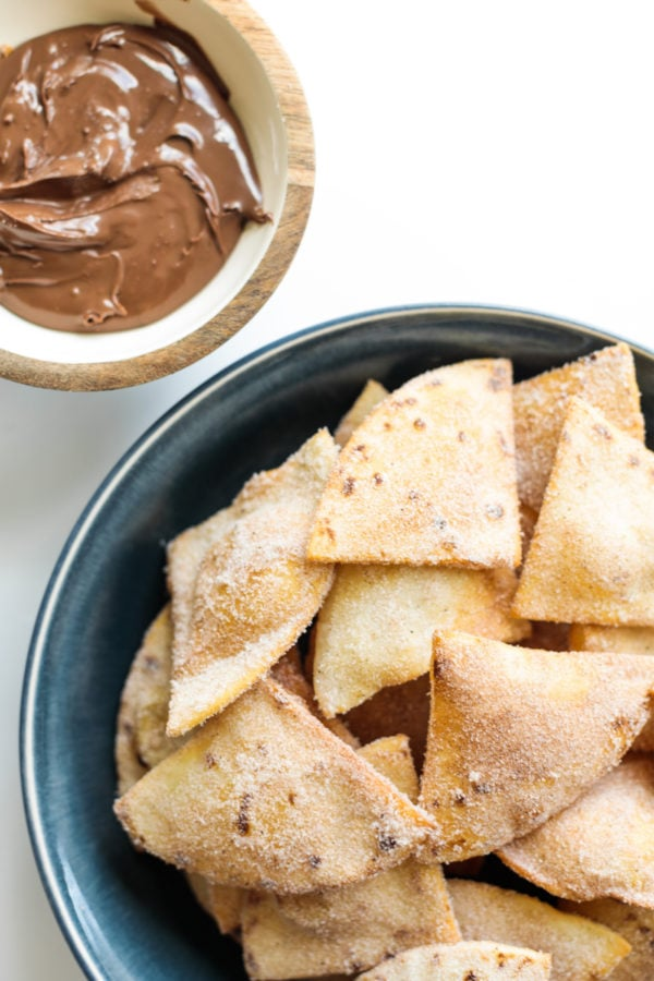 Cinnamon Sugar Fried Flour Tortillas with nutella