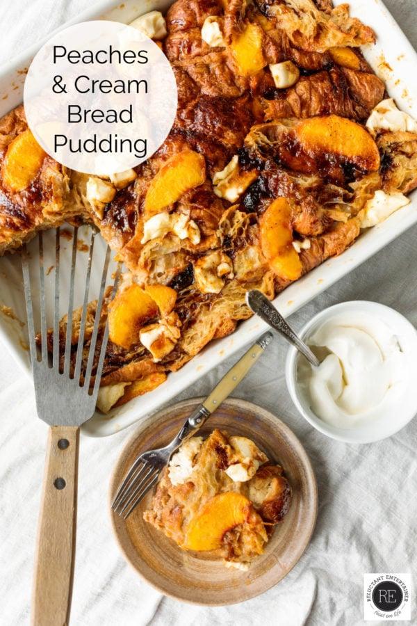 Peaches and Cream Bread Puddings