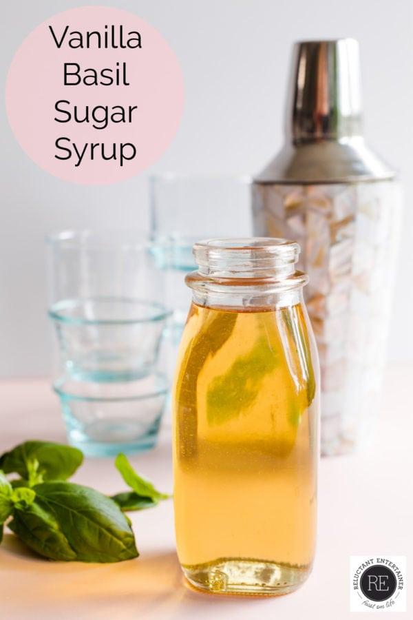 glass bottle of Vanilla Basil Syrup