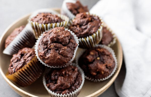 plate of banana muffins with chocolate