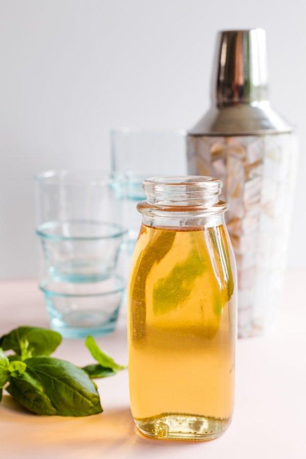 bottle of Vanilla Basil Sugar Syrup