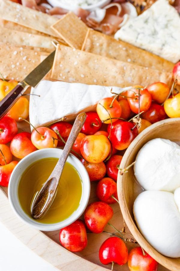 cherries, cheese, and honey