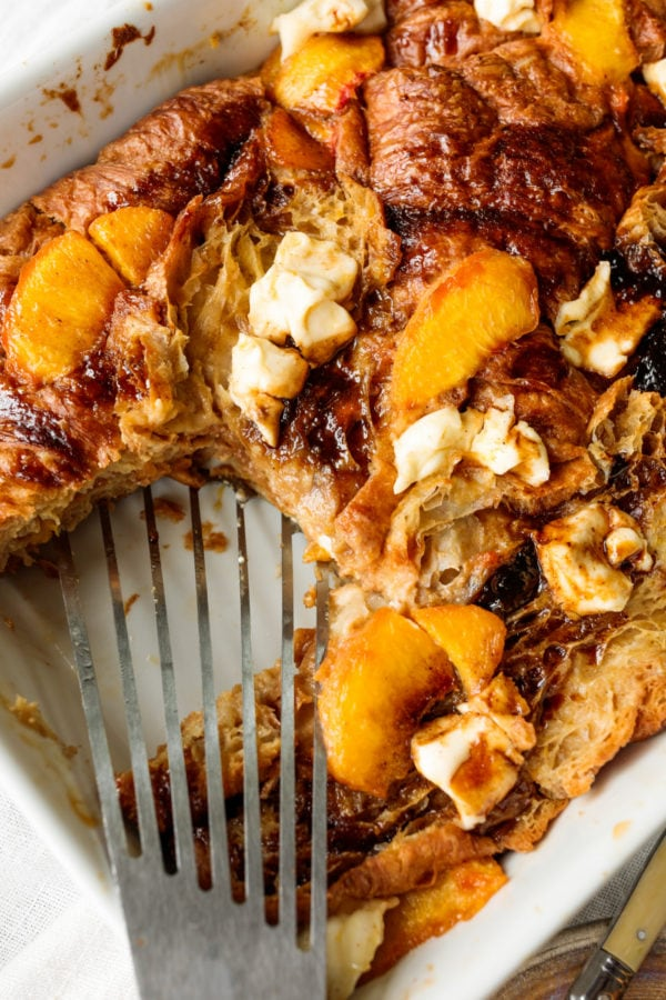 baking pan of Peaches and Cream Bread Pudding