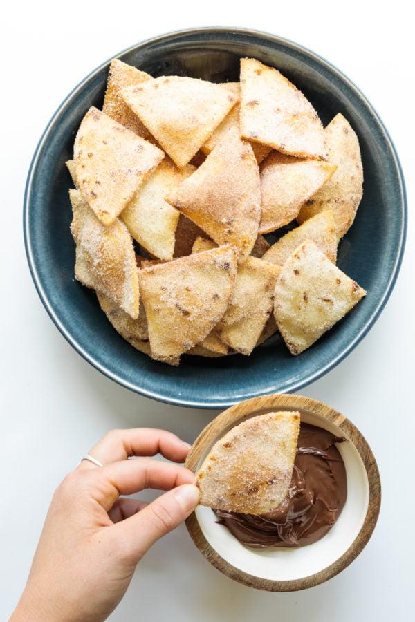 bowl of Cinnamon Sugar Fried Flour Tortillas with nutella