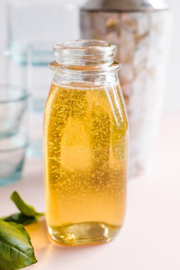 glass bottle of Vanilla Basil Sugar Syrup