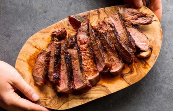 sliced New York steak